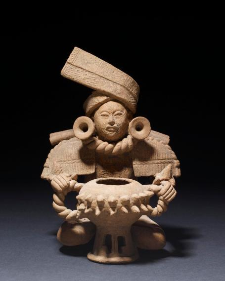 A male figure as an incense burner, from Mexico.