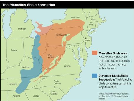 A map of the layout of the Marcellus Shale.