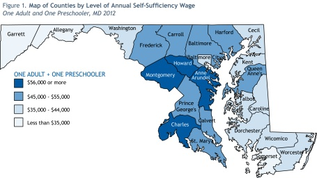 A map of how wages differ throughout Maryland.