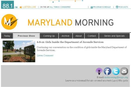 Maryland Morning With Sheilah Kast Reporting From The